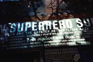 Superhero shop sign